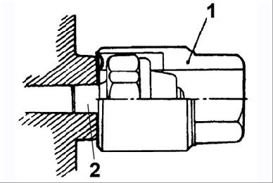 Место нанесения герметика на резьбовую часть датчика давления масла Hyundai Sonata